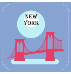 New York City Manhattan Bridge icon flat vector image