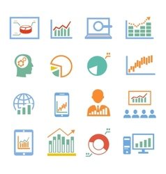 Market analysis diagrams icons vector