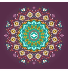 Colorful round geometric pattern in aztec style vector image
