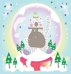 Bear snow in the garden vector