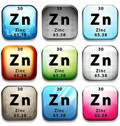 An icon showing the element zinc vector