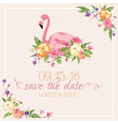 Invitation Card Set - Flamingo Theme vector image