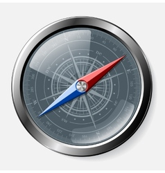 Steel detailed compass over grey background vector image