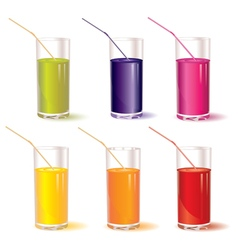 Set of glasses with juice and straw vector