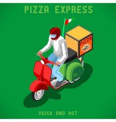 Pizza delivery people isometric vector