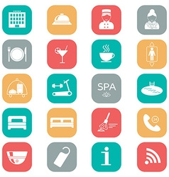 Set of hotel icons flat design silhouette vector