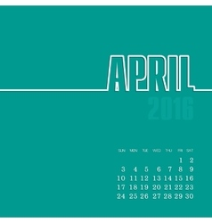 April 2016 year calendar vector