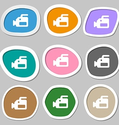 Video camera icon symbols multicolored paper vector
