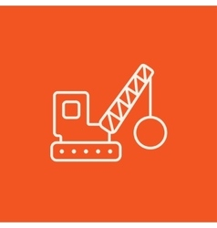 Demolition crane line icon vector