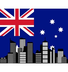 city and flag of australia vector image