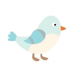 Cute blue bird cartoon animal character vector