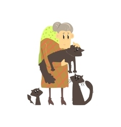 Old Lady With Three Cats vector image