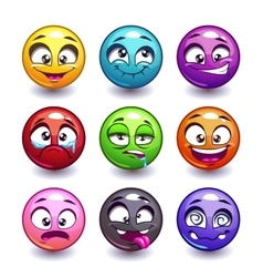 Funny colorful round faces set vector image