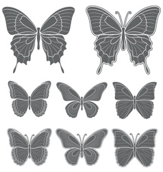 Set of butterflies isolated objects vector