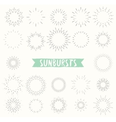 Hand drawn set of retro sunbursts vector