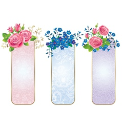 Banners of flowers roses and forget me not vector image