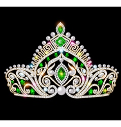 beautiful crown tiara tiara with gems vector image