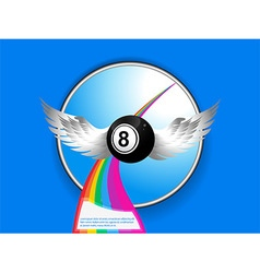 Bingo ball with wings rainbow and sample text vector