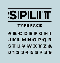 bold font alphabet with split effect letters and vector image vector image