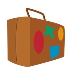 Brown travel suitcase cartoon icon vector image