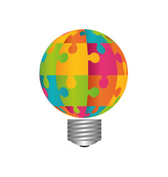 Bulb and puzzle piece vector