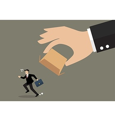 Businessman running away from cardboard box vector image vector image