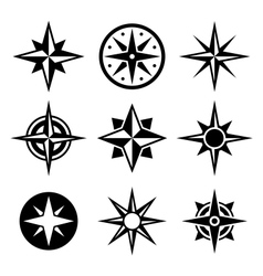 Compass and wind rose icons set vector image vector image