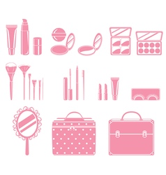 Cosmetic Equipments Set Monochrome vector image