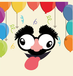 Crazy face balloons fools day vector