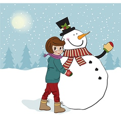 Cute little girl with snowman vector image