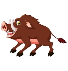 Cute wild boar cartoon vector