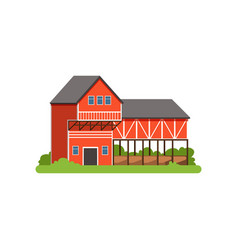 Farm house and barn agricultural building vector