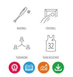 Football team assistant and baseball icons vector
