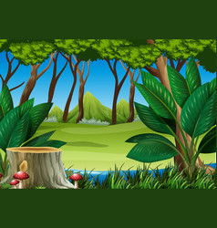 Forest scene with stump tree and mountains vector