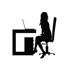 girl front the laptop silhouette vector image