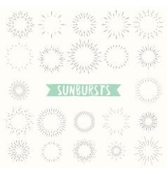 Hand drawn set of retro sunbursts vector image