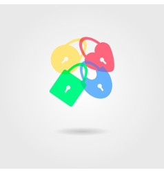 icon of transparent padlocks with shadow vector image