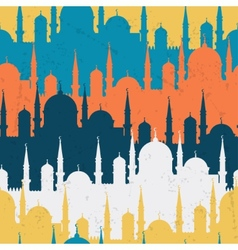 Islamic seamless pattern with mosques in flat vector image
