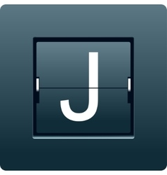 Letter j from mechanical scoreboard vector