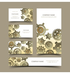 Mechanic business cards set vector image vector image