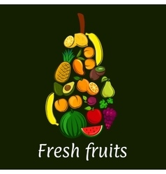 Pear icon with tropical and exotic fruits vector image