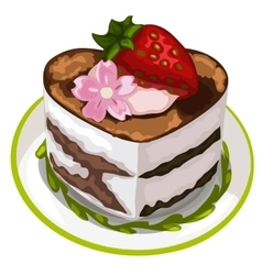 Piece of delicious cake with strawberry and flower vector