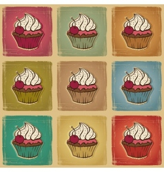 Retro cupcakes background vector image