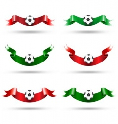 ribbons with soccer ball vector image vector image