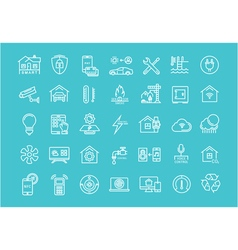 Set flat line icons smart house vector