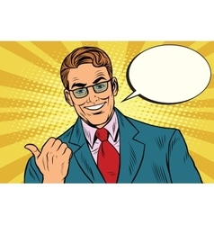 Smiling businessman showing big finger to the left vector