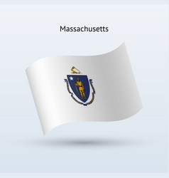 state of massachusetts flag waving form vector image vector image