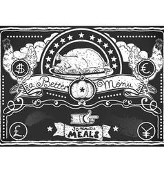 Vintage graphic blackboard for chicken menu vector