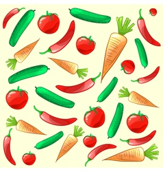 Colorful ripe fresh vegetables pattern background vector