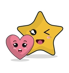 Cartoon heart star technology digital design vector